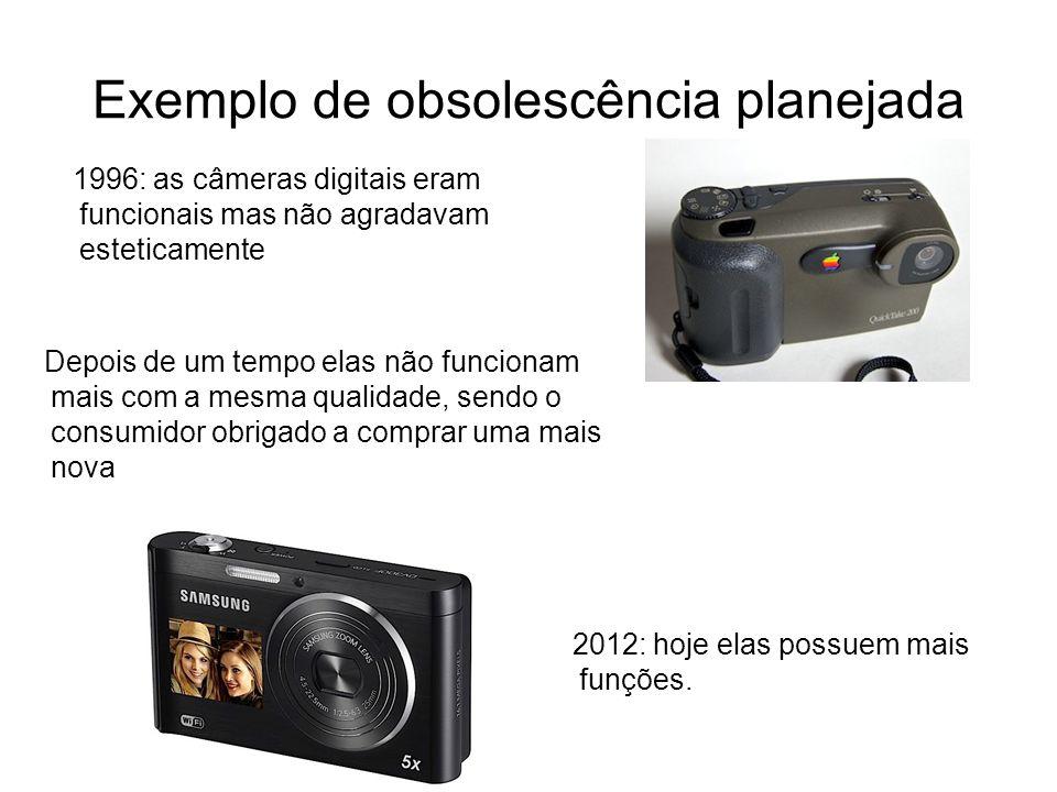 Exemplo de obsolescência planejada 1996: as câmeras digitais eram funcionais mas não agradavam esteticamente 2012: hoje elas possuem mais funções. Dep