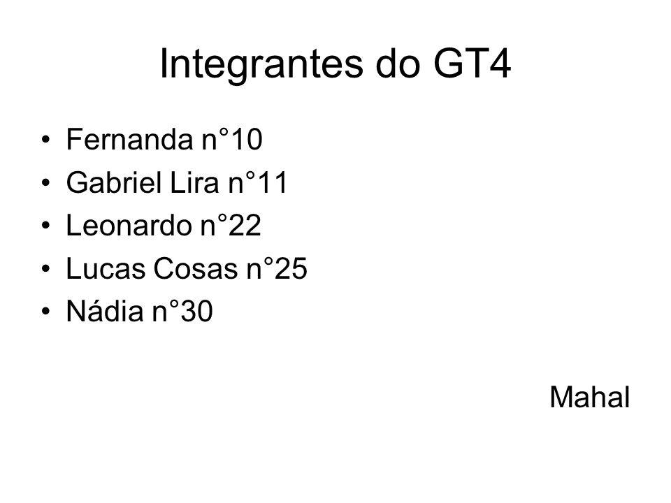Integrantes do GT4 Fernanda n°10 Gabriel Lira n°11 Leonardo n°22 Lucas Cosas n°25 Nádia n°30 Mahal