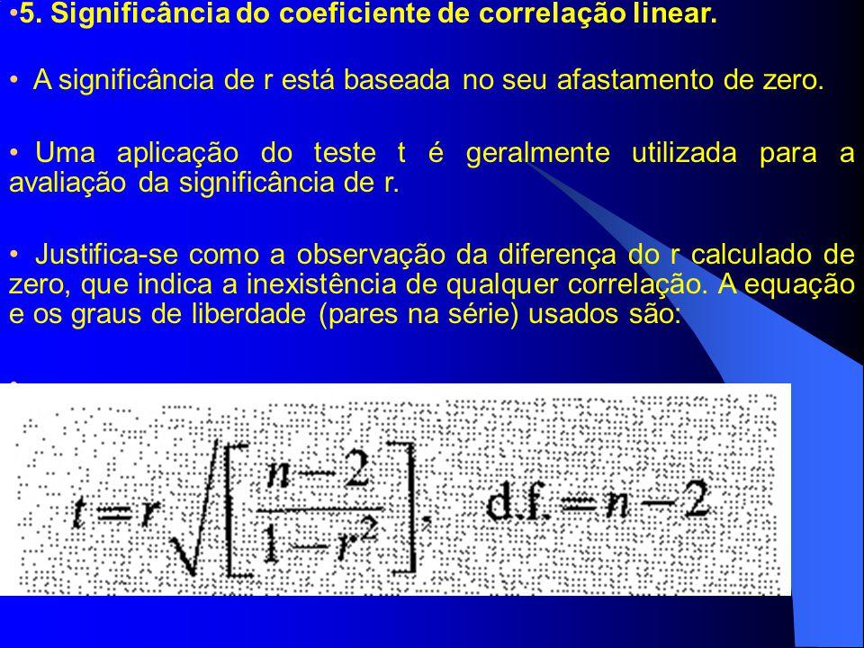 5. Significância do coeficiente de correlação linear. A significância de r está baseada no seu afastamento de zero. Uma aplicação do teste t é geralme