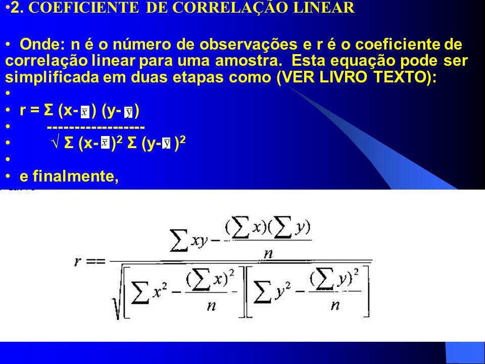 2. COEFICIENTE DE CORRELAÇÃO LINEAR Onde: n é o número de observações e r é o coeficiente de correlação linear para uma amostra. Esta equação pode ser