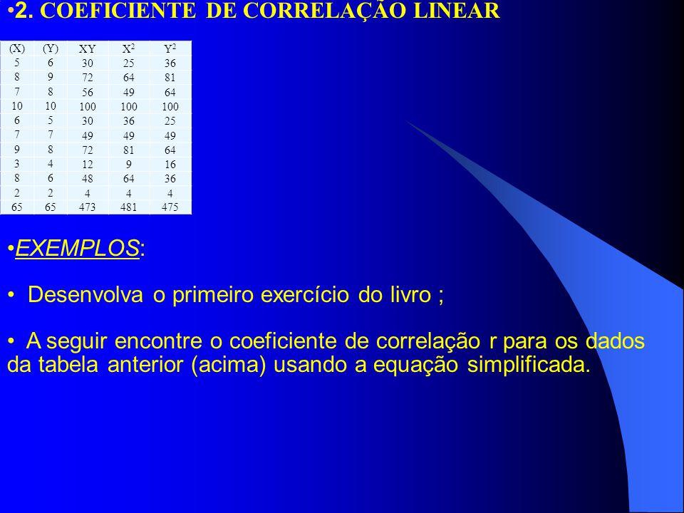 2. COEFICIENTE DE CORRELAÇÃO LINEAR EXEMPLOS: Desenvolva o primeiro exercício do livro ; A seguir encontre o coeficiente de correlação r para os dados