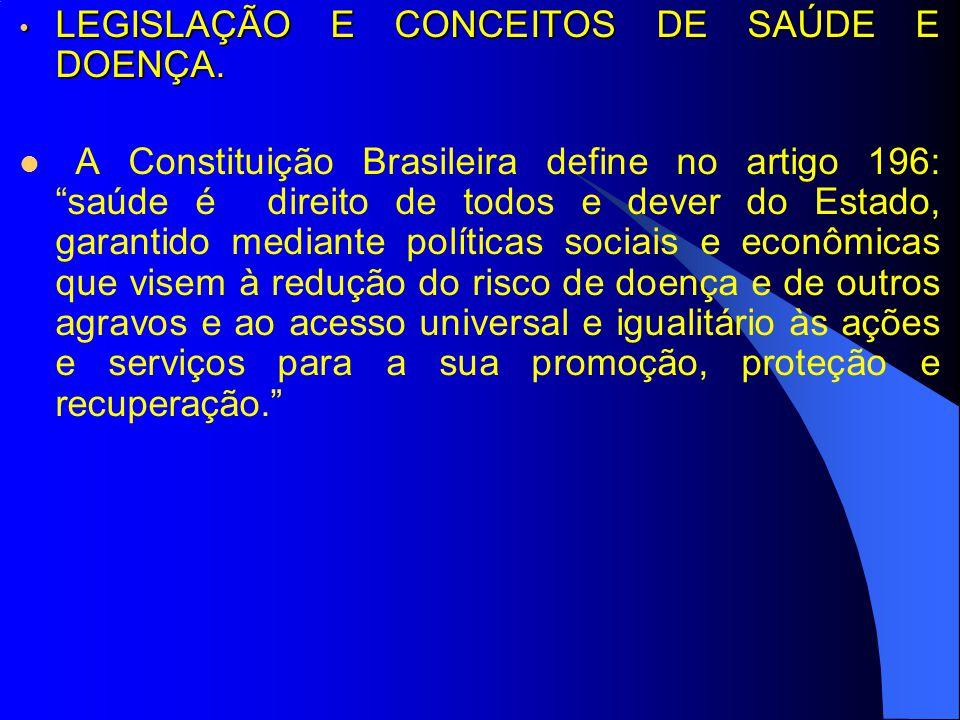 LEGISLAÇÃO E CONCEITOS DE SAÚDE E DOENÇA. LEGISLAÇÃO E CONCEITOS DE SAÚDE E DOENÇA. A Constituição Brasileira define no artigo 196: saúde é direito de