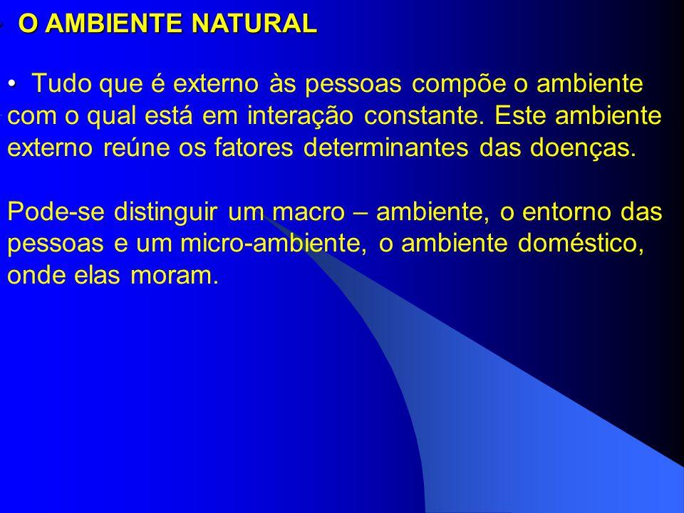 Tudo que é externo às pessoas compõe o ambiente com o qual está em interação constante. Este ambiente externo reúne os fatores determinantes das doenç