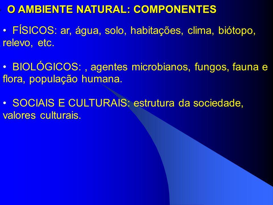 O AMBIENTE NATURAL: COMPONENTES O AMBIENTE NATURAL: COMPONENTES FÍSICOS: ar, água, solo, habitações, clima, biótopo, relevo, etc. BIOLÓGICOS:, agentes
