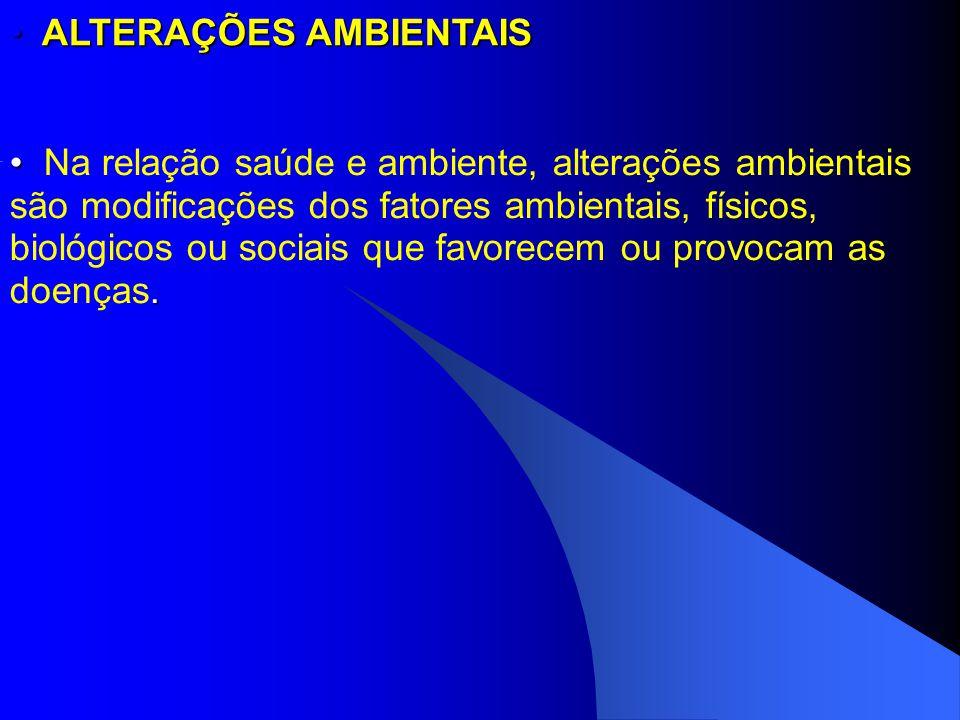 ALTERAÇÕES AMBIENTAIS ALTERAÇÕES AMBIENTAIS. Na relação saúde e ambiente, alterações ambientais são modificações dos fatores ambientais, físicos, biol