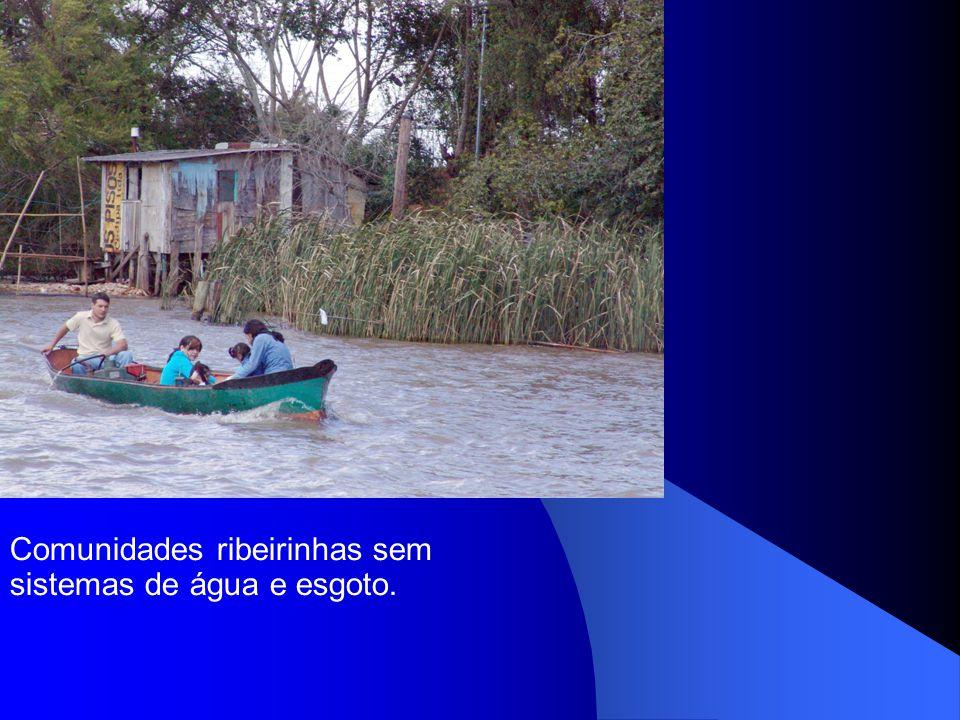 Comunidades ribeirinhas sem sistemas de água e esgoto.