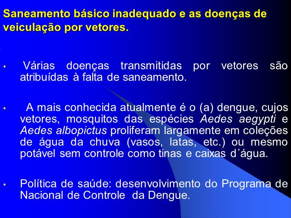 Saneamento básico inadequado e as doenças de veiculação por vetores. Várias doenças transmitidas por vetores são atribuídas à falta de saneamento. A m