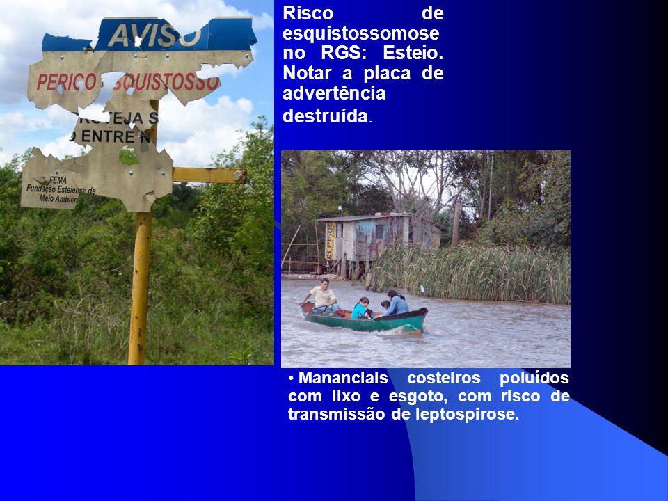 Risco de esquistossomose no RGS: Esteio. Notar a placa de advertência destruída. Mananciais costeiros poluídos com lixo e esgoto, com risco de transmi