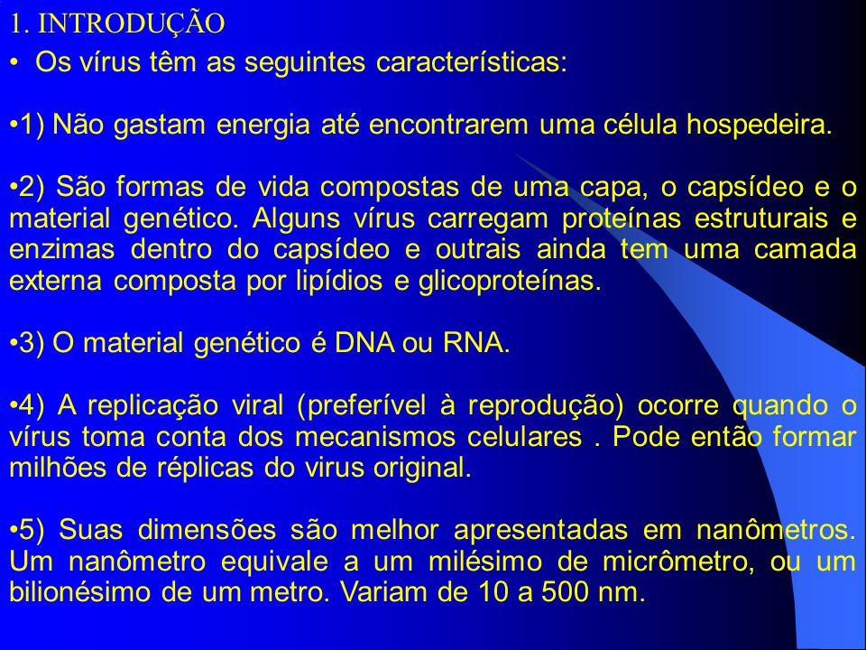 Os vírus têm as seguintes características: 1) Não gastam energia até encontrarem uma célula hospedeira.