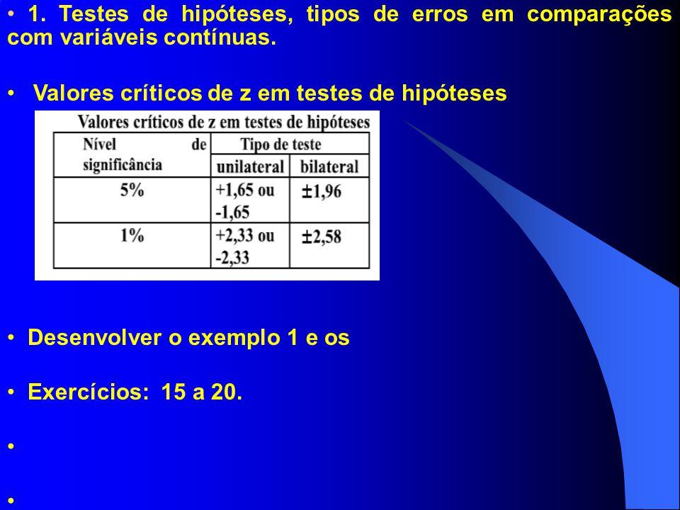 1. Testes de hipóteses, tipos de erros em comparações com variáveis contínuas. Valores críticos de z em testes de hipóteses Desenvolver o exemplo 1 e