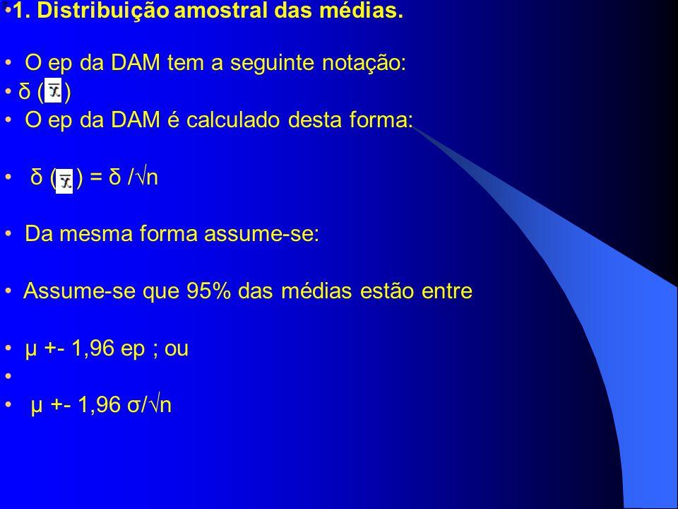 1. Distribuição amostral das médias. O ep da DAM tem a seguinte notação: δ ( ) O ep da DAM é calculado desta forma: δ ( ) = δ /n Da mesma forma assume