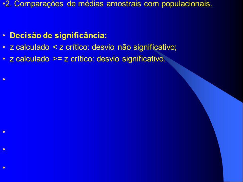 2. Comparações de médias amostrais com populacionais. Decisão de significância: z calculado < z crítico: desvio não significativo; z calculado >= z cr