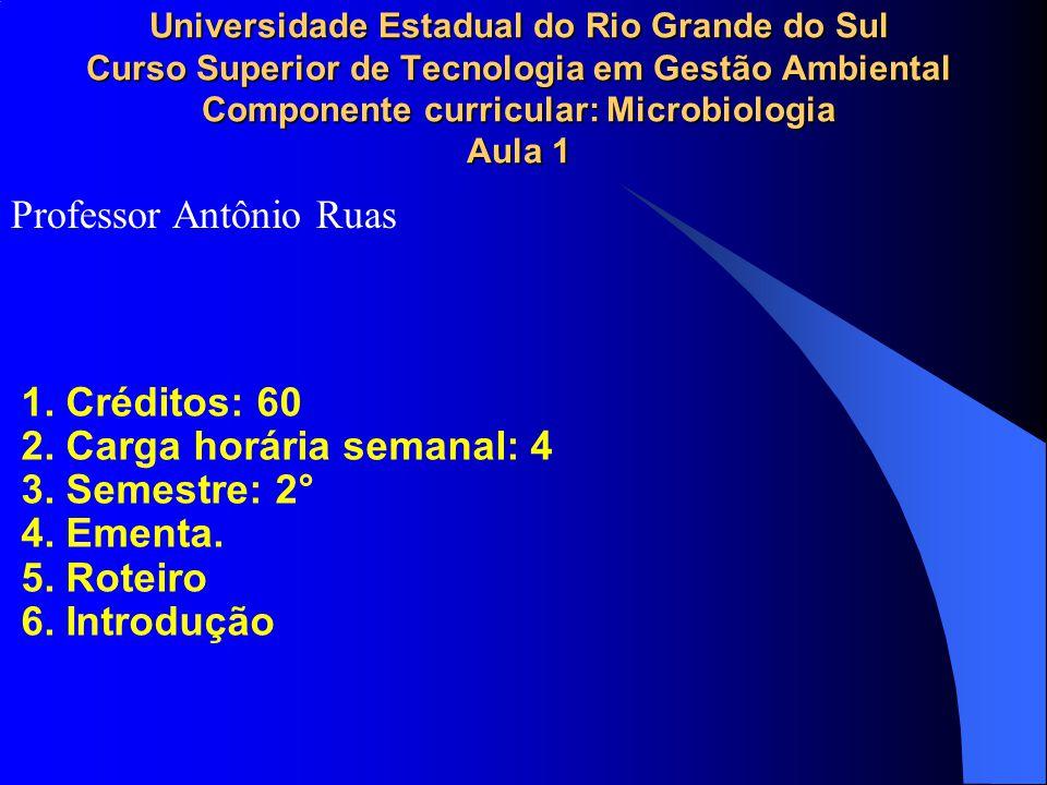 Universidade Estadual do Rio Grande do Sul Curso Superior de Tecnologia em Gestão Ambiental Componente curricular: Microbiologia Aula 1 1. Créditos: 6