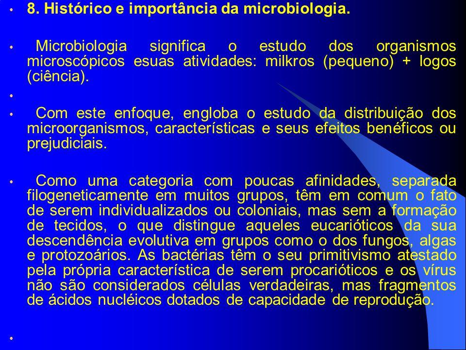 8. Histórico e importância da microbiologia. Microbiologia significa o estudo dos organismos microscópicos esuas atividades: milkros (pequeno) + logos