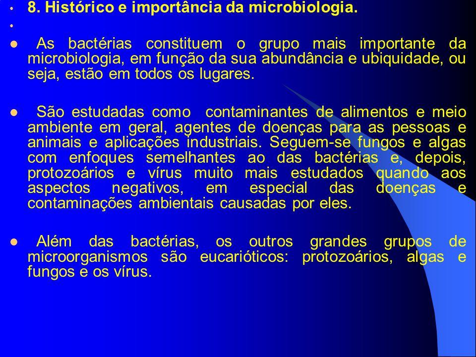 8. Histórico e importância da microbiologia. As bactérias constituem o grupo mais importante da microbiologia, em função da sua abundância e ubiquidad