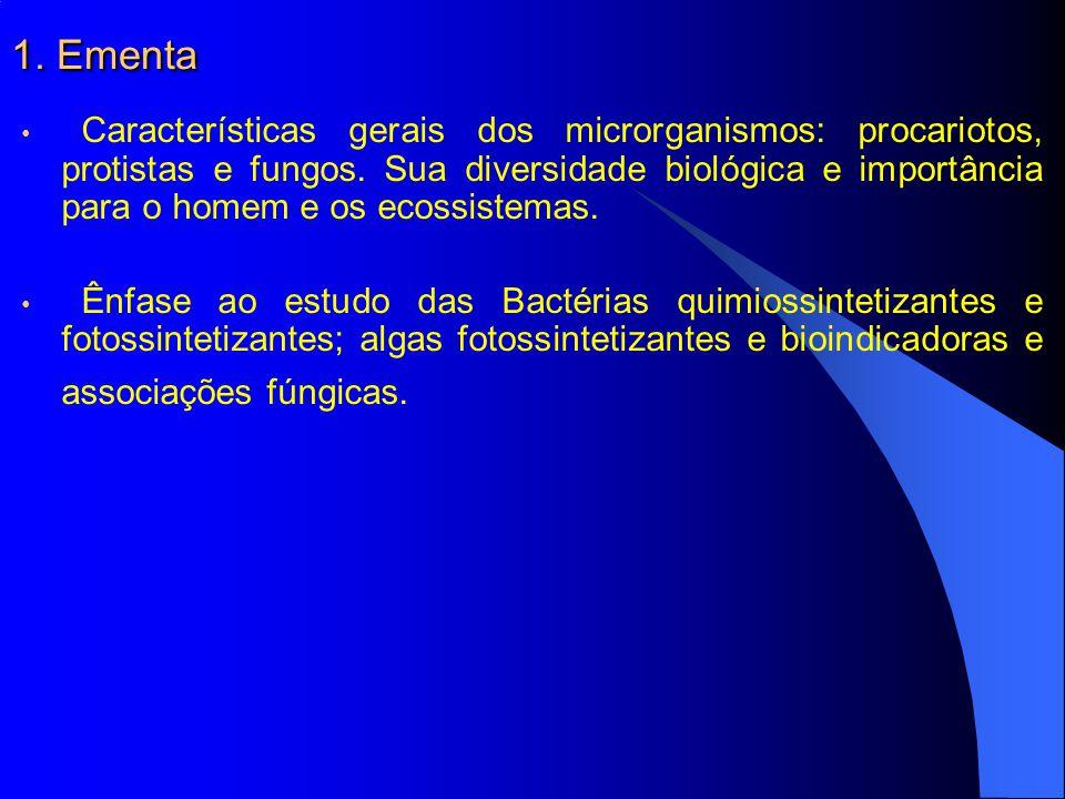 1. Ementa Características gerais dos microrganismos: procariotos, protistas e fungos. Sua diversidade biológica e importância para o homem e os ecossi