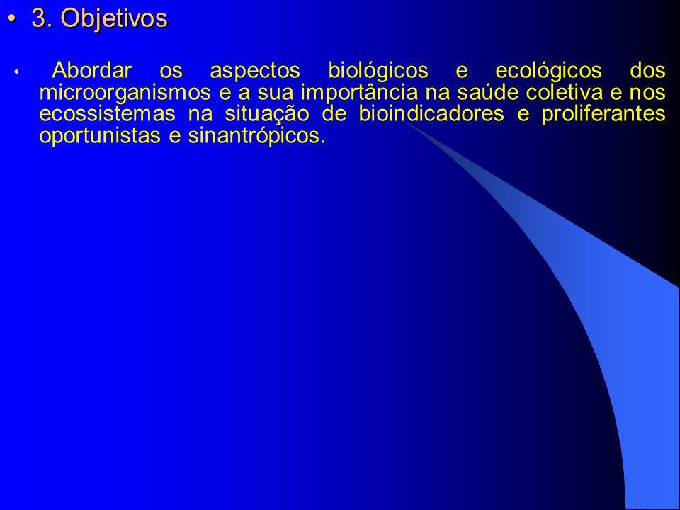 3. Objetivos 3. Objetivos Abordar os aspectos biológicos e ecológicos dos microorganismos e a sua importância na saúde coletiva e nos ecossistemas na