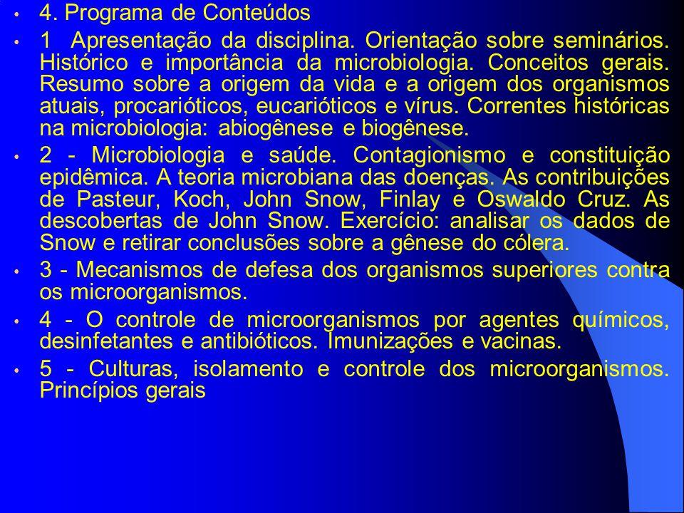 4. Programa de Conteúdos 1 Apresentação da disciplina. Orientação sobre seminários. Histórico e importância da microbiologia. Conceitos gerais. Resumo