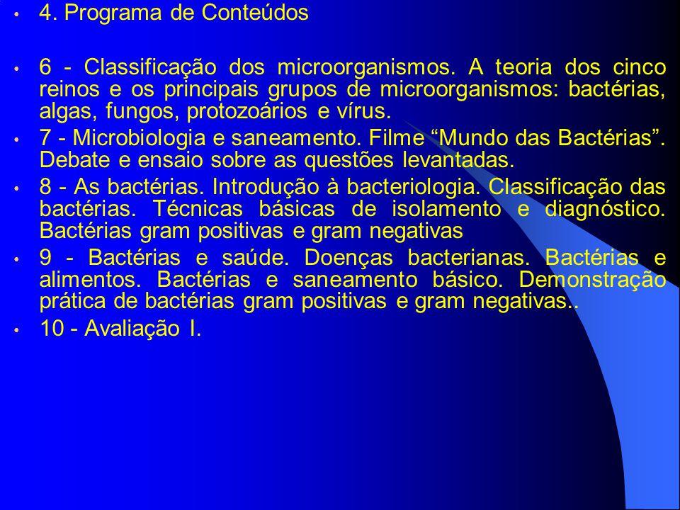 4. Programa de Conteúdos 6 - Classificação dos microorganismos. A teoria dos cinco reinos e os principais grupos de microorganismos: bactérias, algas,