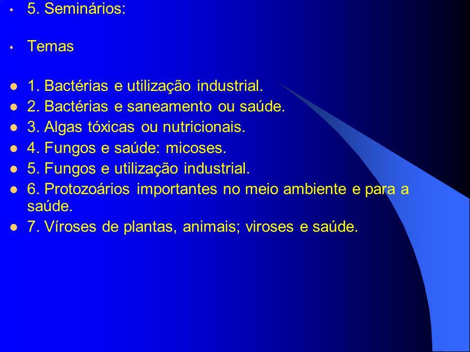 5. Seminários: Temas 1. Bactérias e utilização industrial. 2. Bactérias e saneamento ou saúde. 3. Algas tóxicas ou nutricionais. 4. Fungos e saúde: mi