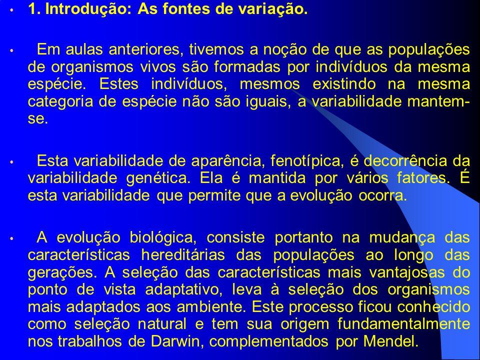 1. Introdução: As fontes de variação. Em aulas anteriores, tivemos a noção de que as populações de organismos vivos são formadas por indivíduos da mes