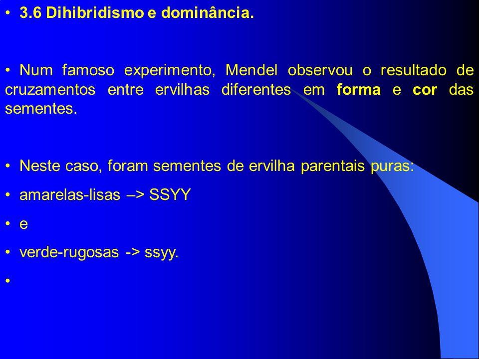 3.6 Dihibridismo e dominância. Num famoso experimento, Mendel observou o resultado de cruzamentos entre ervilhas diferentes em forma e cor das semente