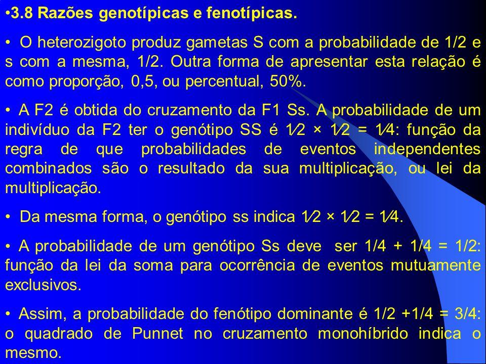 3.8 Razões genotípicas e fenotípicas. O heterozigoto produz gametas S com a probabilidade de 1/2 e s com a mesma, 1/2. Outra forma de apresentar esta