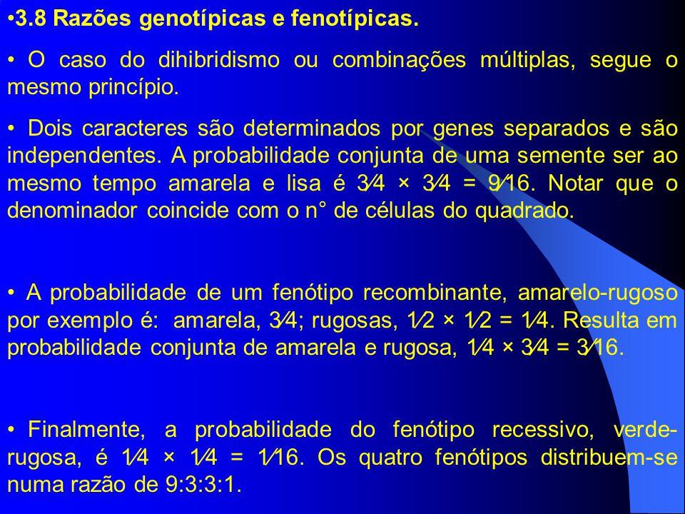 3.8 Razões genotípicas e fenotípicas. O caso do dihibridismo ou combinações múltiplas, segue o mesmo princípio. Dois caracteres são determinados por g