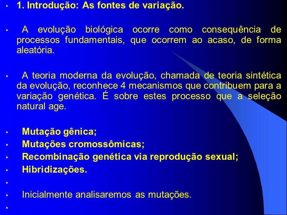 1. Introdução: As fontes de variação. A evolução biológica ocorre como consequência de processos fundamentais, que ocorrem ao acaso, de forma aleatóri