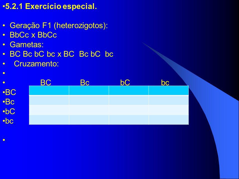 5.2.1 Exercício especial. Geração F1 (heterozigotos): BbCc x BbCc Gametas: BC Bc bC bc x BC Bc bC bc Cruzamento: BC Bc bC bc BC Bc bC bc