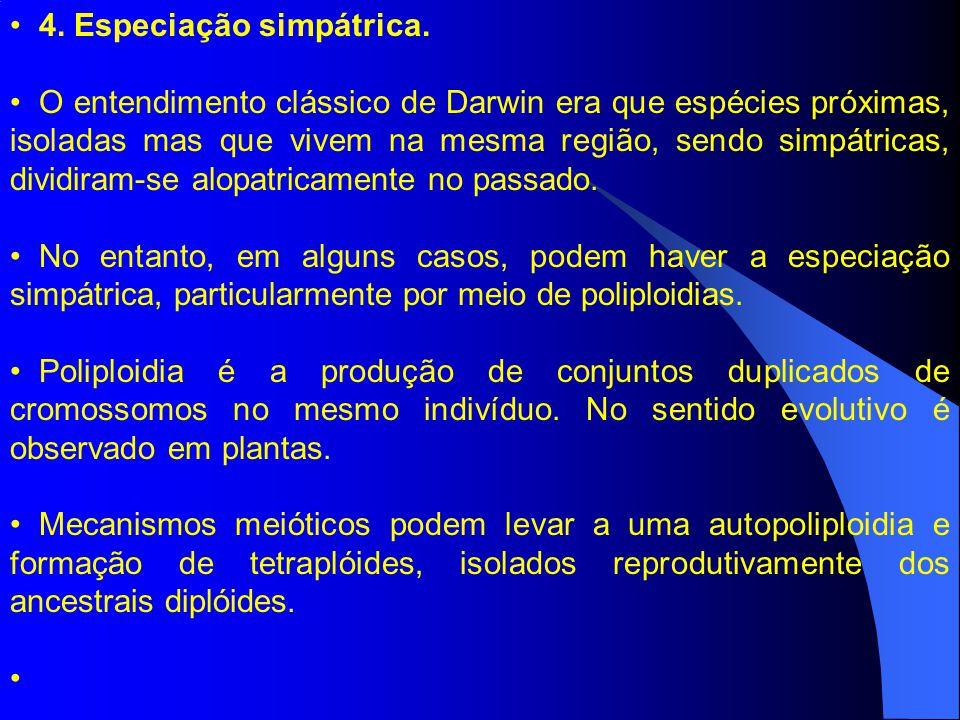 4. Especiação simpátrica. O entendimento clássico de Darwin era que espécies próximas, isoladas mas que vivem na mesma região, sendo simpátricas, divi