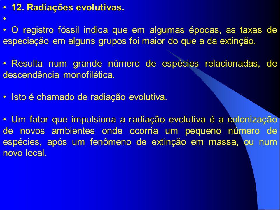 12. Radiações evolutivas. O registro fóssil indica que em algumas épocas, as taxas de especiação em alguns grupos foi maior do que a da extinção. Resu