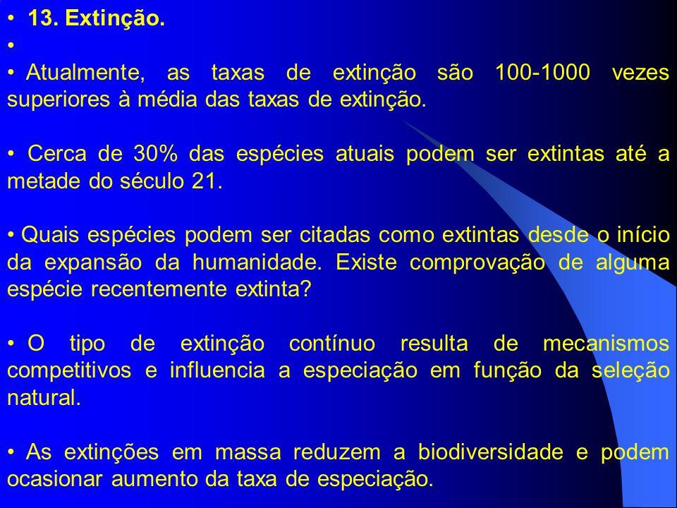 13. Extinção. Atualmente, as taxas de extinção são 100-1000 vezes superiores à média das taxas de extinção. Cerca de 30% das espécies atuais podem ser