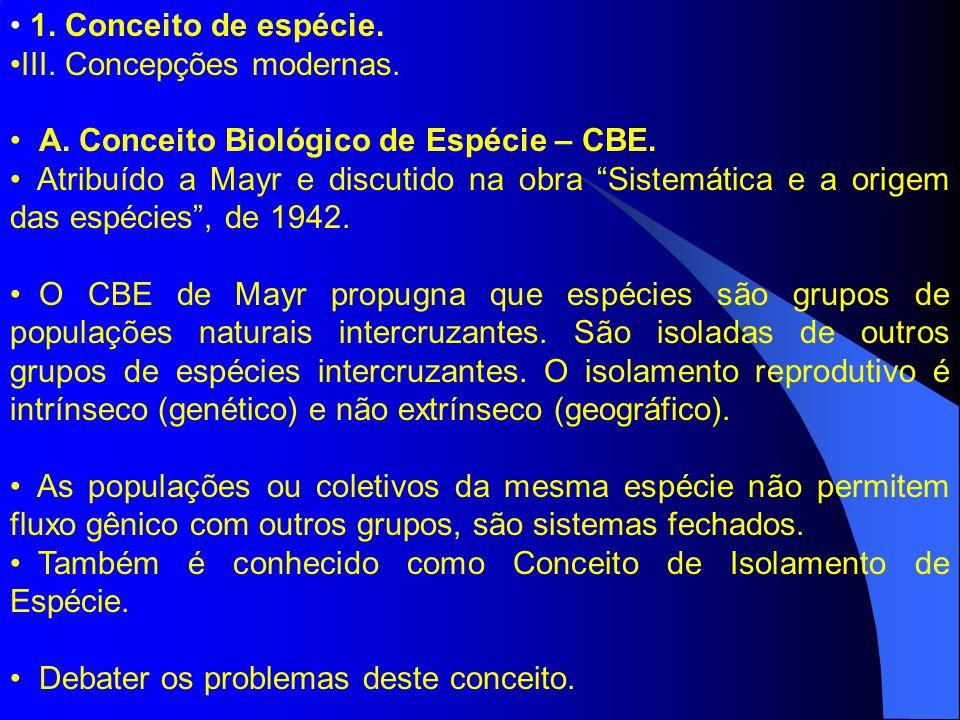 1. Conceito de espécie. III. Concepções modernas. A. Conceito Biológico de Espécie – CBE. Atribuído a Mayr e discutido na obra Sistemática e a origem
