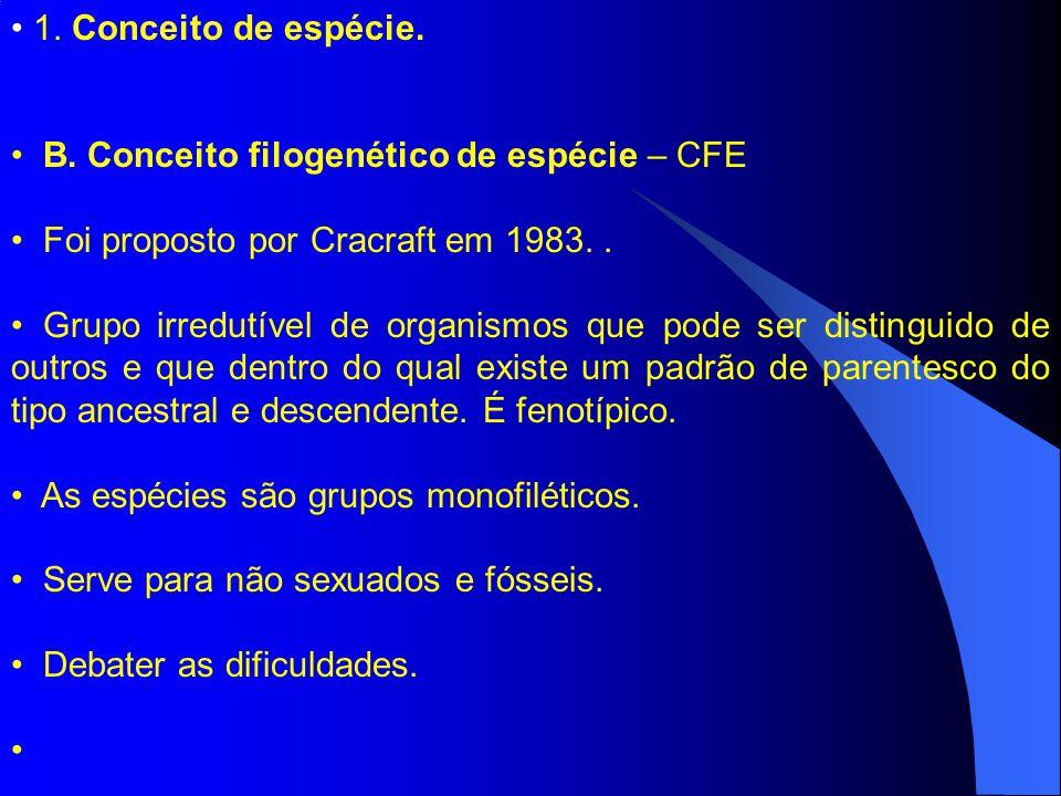1. Conceito de espécie. B. Conceito filogenético de espécie – CFE Foi proposto por Cracraft em 1983.. Grupo irredutível de organismos que pode ser dis