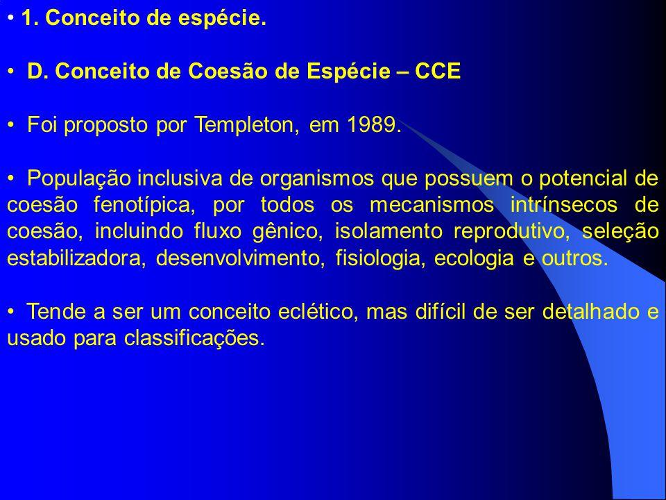 1. Conceito de espécie. D. Conceito de Coesão de Espécie – CCE Foi proposto por Templeton, em 1989. População inclusiva de organismos que possuem o po