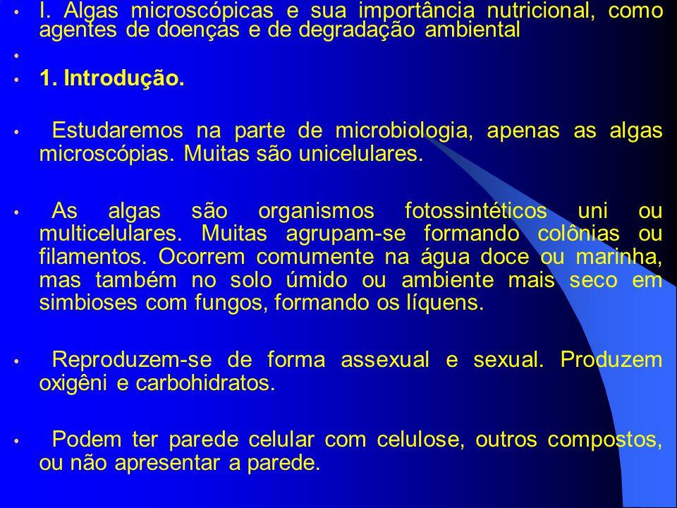 I. Algas microscópicas e sua importância nutricional, como agentes de doenças e de degradação ambiental 1. Introdução. Estudaremos na parte de microbi