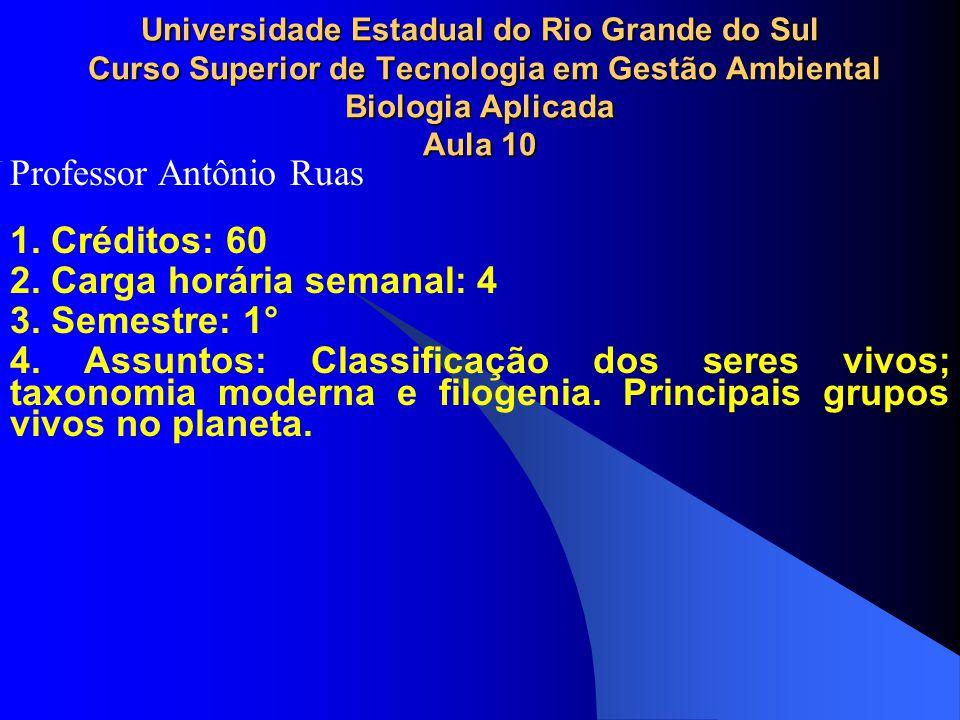 1. Créditos: 60 2. Carga horária semanal: 4 3. Semestre: 1° 4. Assuntos: Classificação dos seres vivos; taxonomia moderna e filogenia. Principais grup