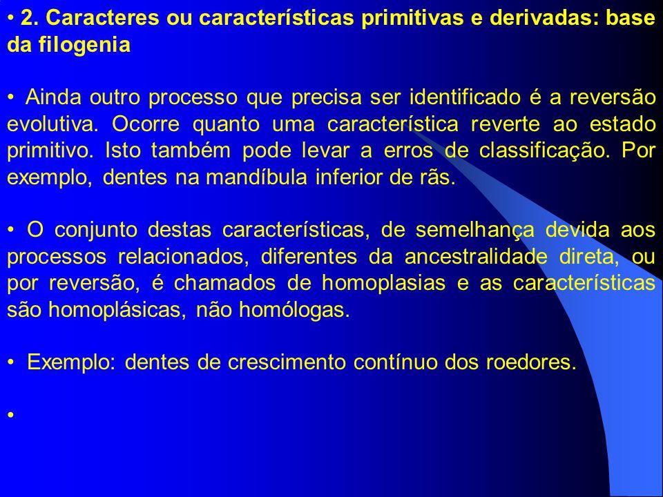 2. Caracteres ou características primitivas e derivadas: base da filogenia Ainda outro processo que precisa ser identificado é a reversão evolutiva. O