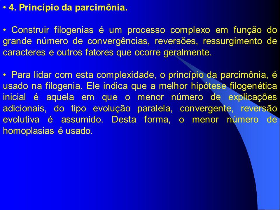 4. Princípio da parcimônia. Construir filogenias é um processo complexo em função do grande número de convergências, reversões, ressurgimento de carac