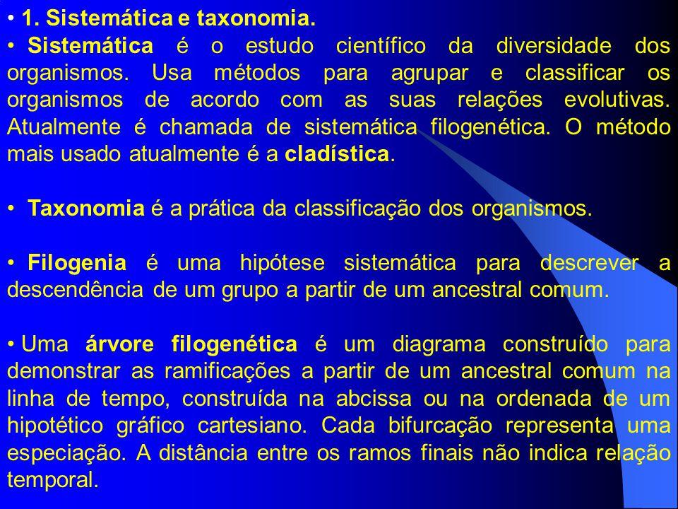 1. Sistemática e taxonomia. Sistemática é o estudo científico da diversidade dos organismos. Usa métodos para agrupar e classificar os organismos de a