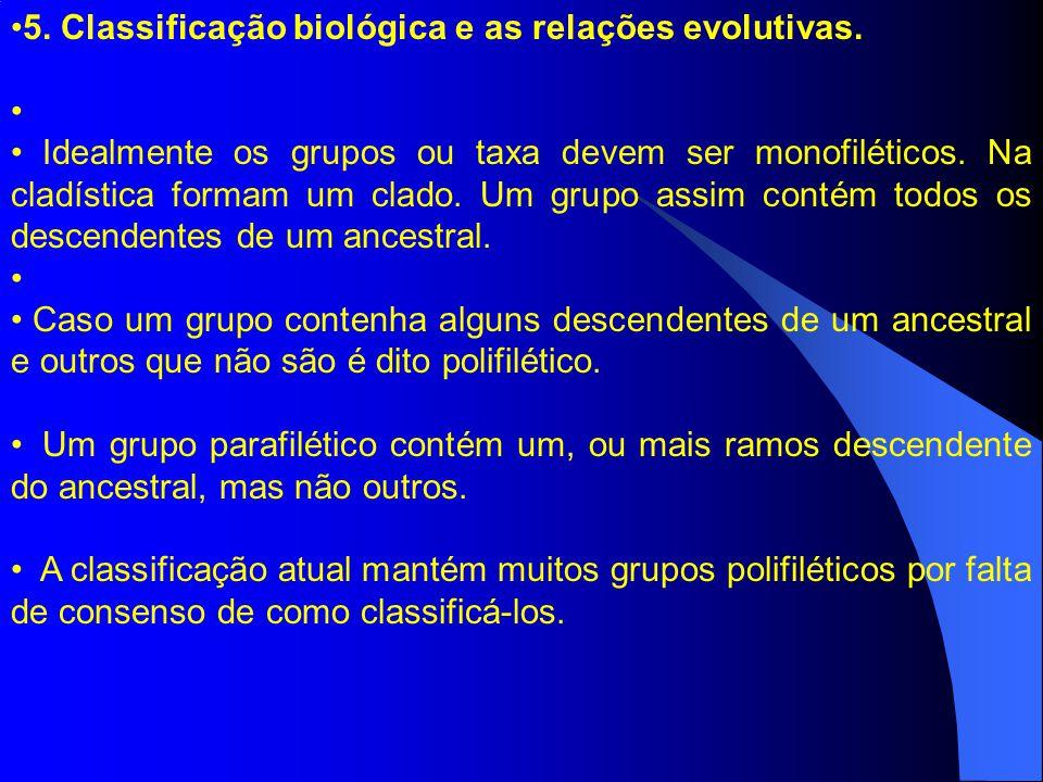 5. Classificação biológica e as relações evolutivas. Idealmente os grupos ou taxa devem ser monofiléticos. Na cladística formam um clado. Um grupo ass