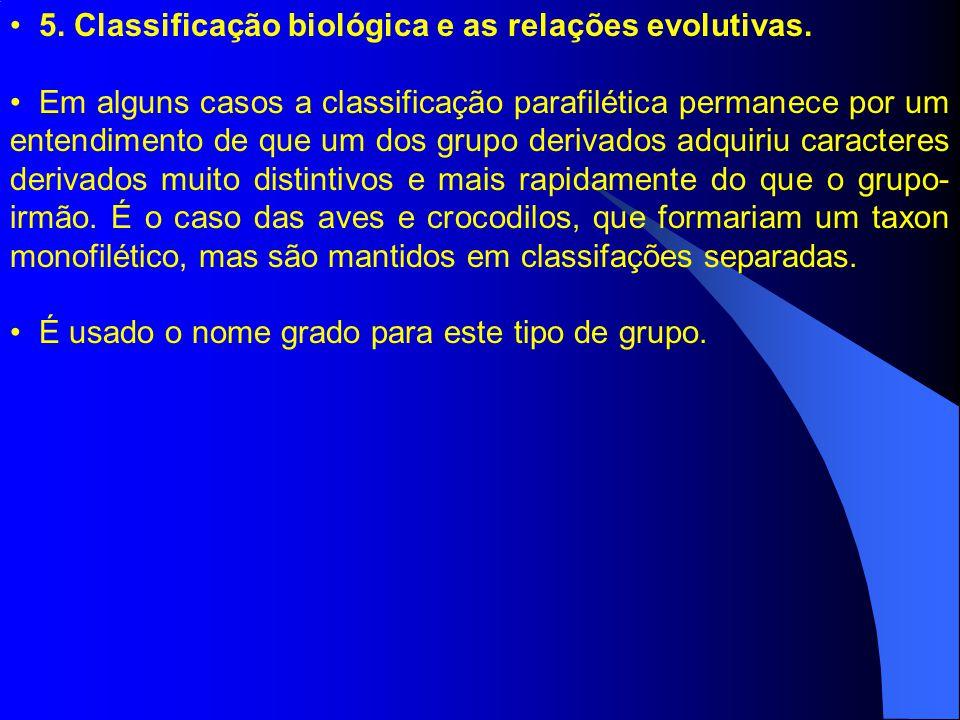5. Classificação biológica e as relações evolutivas. Em alguns casos a classificação parafilética permanece por um entendimento de que um dos grupo de