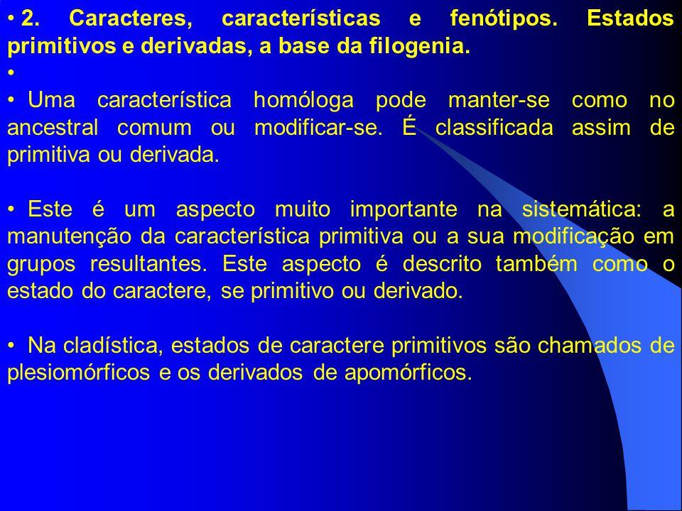 2. Caracteres, características e fenótipos. Estados primitivos e derivadas, a base da filogenia. Uma característica homóloga pode manter-se como no an