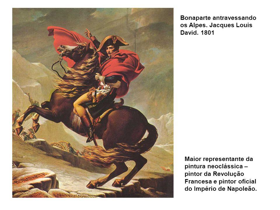 Bonaparte antravessando os Alpes.Jacques Louis David.