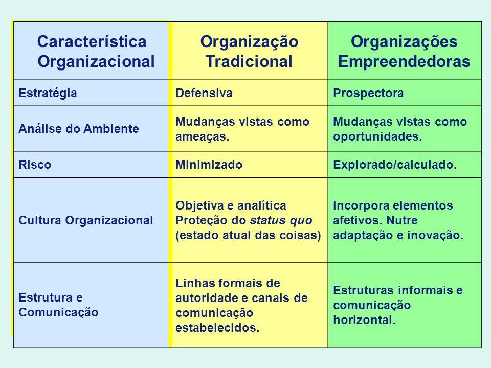 Característica Organizacional Organização Tradicional Organizações Empreendedoras EstratégiaDefensivaProspectora Análise do Ambiente Mudanças vistas c
