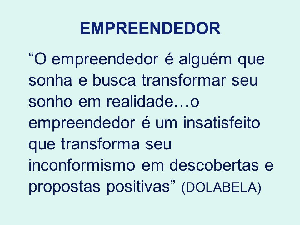 EMPREENDEDOR O empreendedor é alguém que sonha e busca transformar seu sonho em realidade…o empreendedor é um insatisfeito que transforma seu inconfor