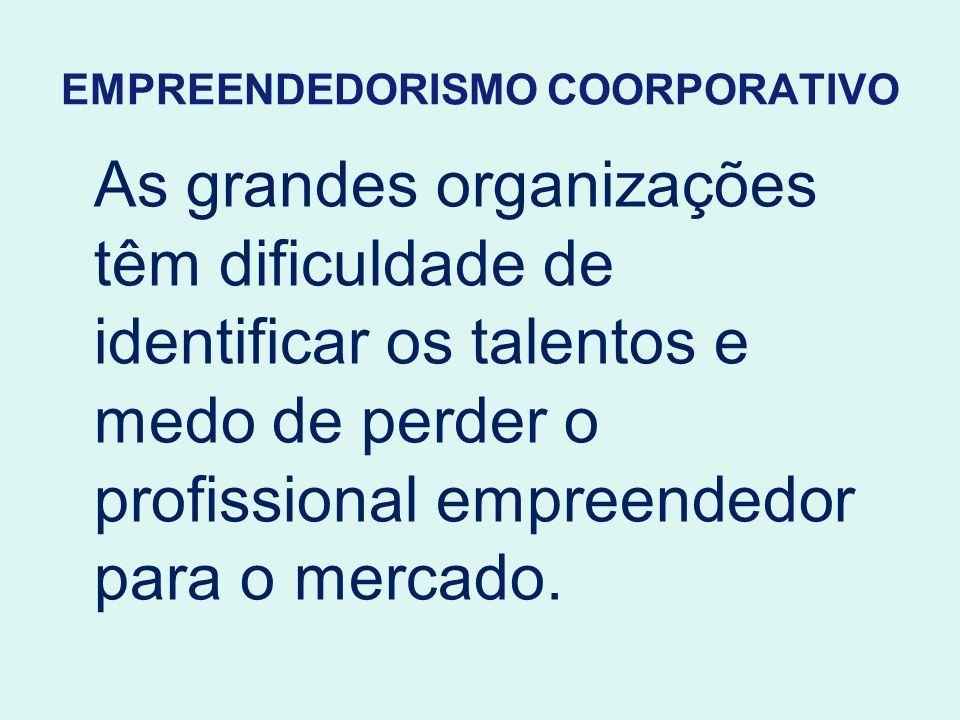 EMPREENDEDORISMO COORPORATIVO As grandes organizações têm dificuldade de identificar os talentos e medo de perder o profissional empreendedor para o m