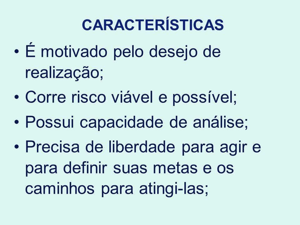 CARACTERÍSTICAS É motivado pelo desejo de realização; Corre risco viável e possível; Possui capacidade de análise; Precisa de liberdade para agir e pa