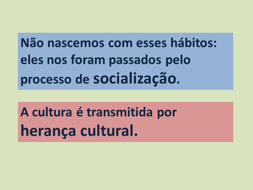 Não nascemos com esses hábitos: eles nos foram passados pelo processo de socialização. A cultura é transmitida por herança cultural.